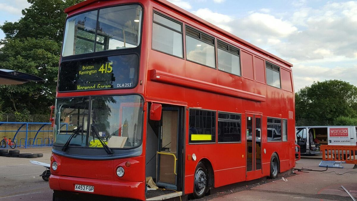 London Bus Onsite Paint Spraying