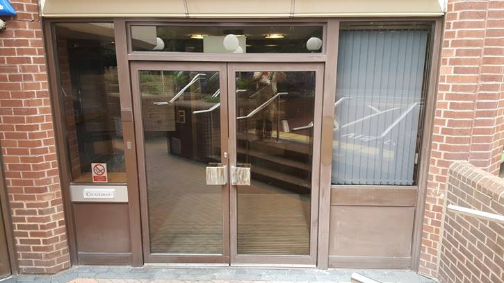 Faded paint on entrance